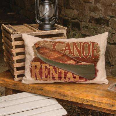 Lodge Hollow Natural Canoe Rental Canoe Decorative Pillow