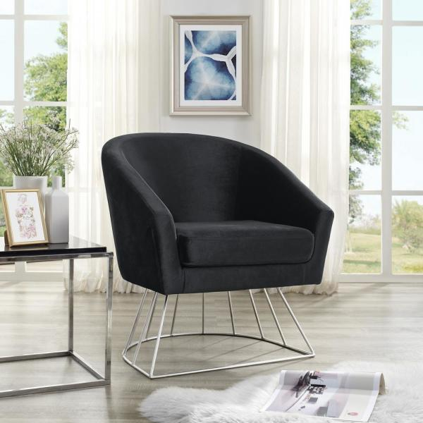 Inspired Home Esmeralda Velvet Black/Silver Modern Contemporary Barrel Accent