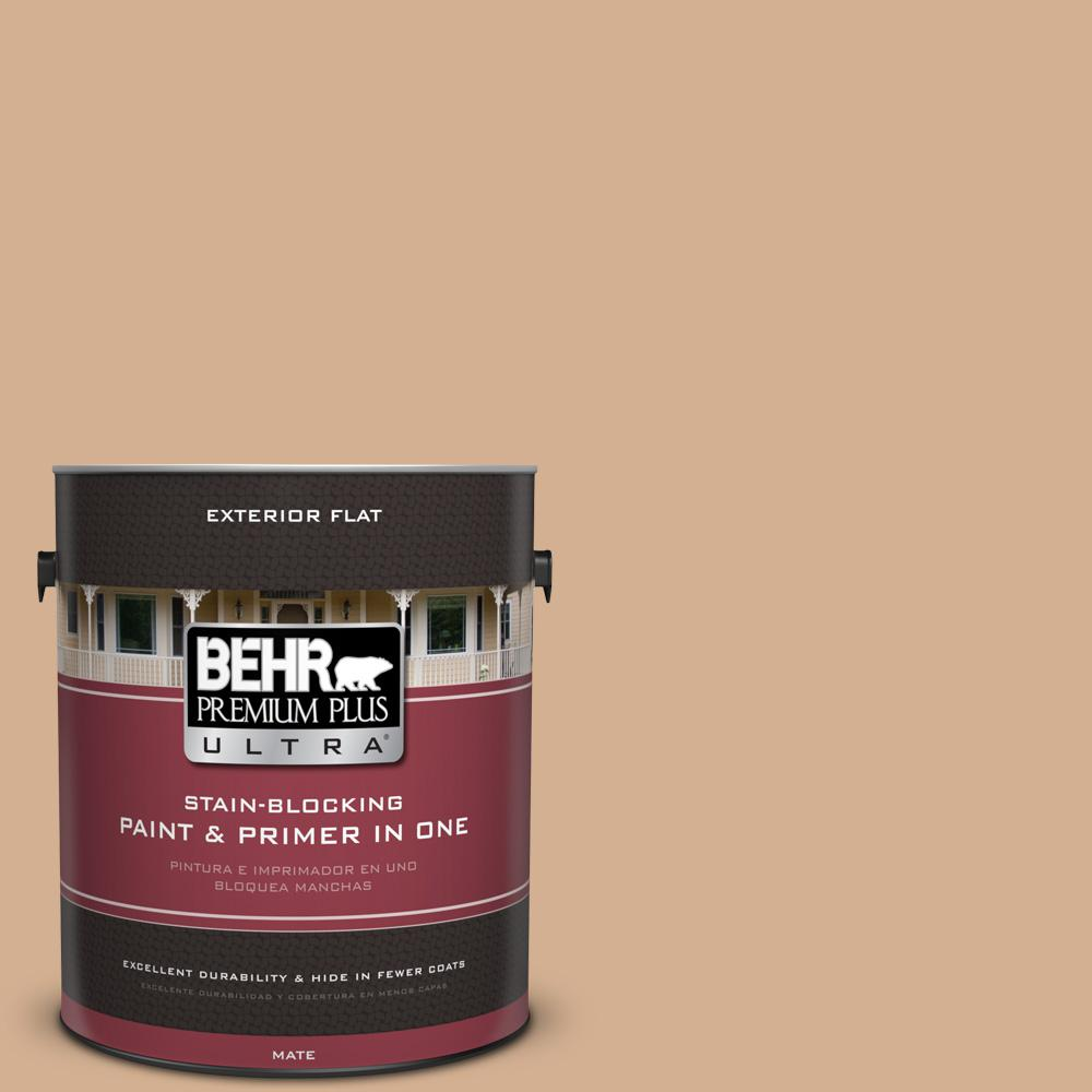 1 gal. #MQ2-4 Butterscotch Amber Flat Exterior Paint and Primer in