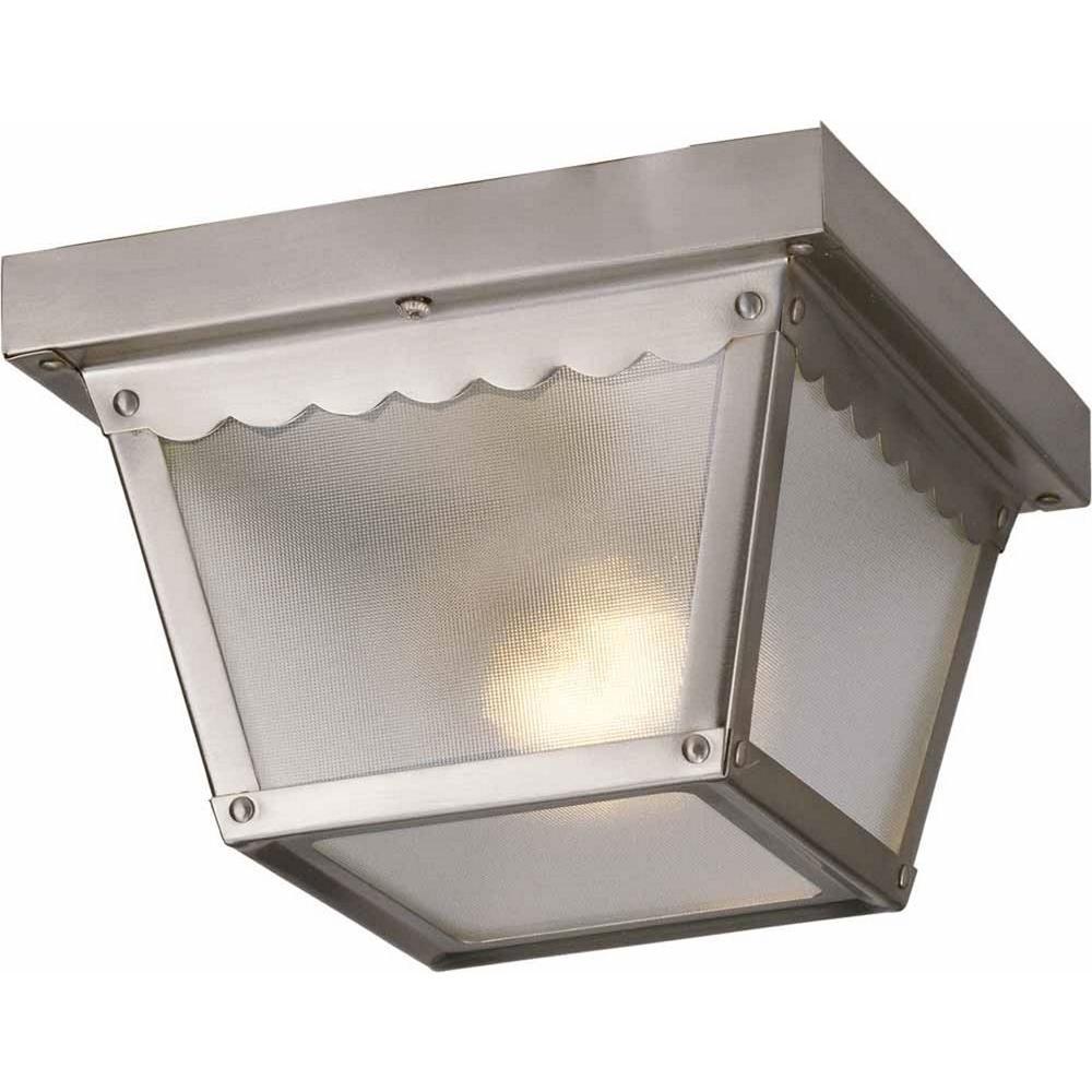 1-Light Outdoor Brushed Nickel Flush Mount Ceiling Fixture