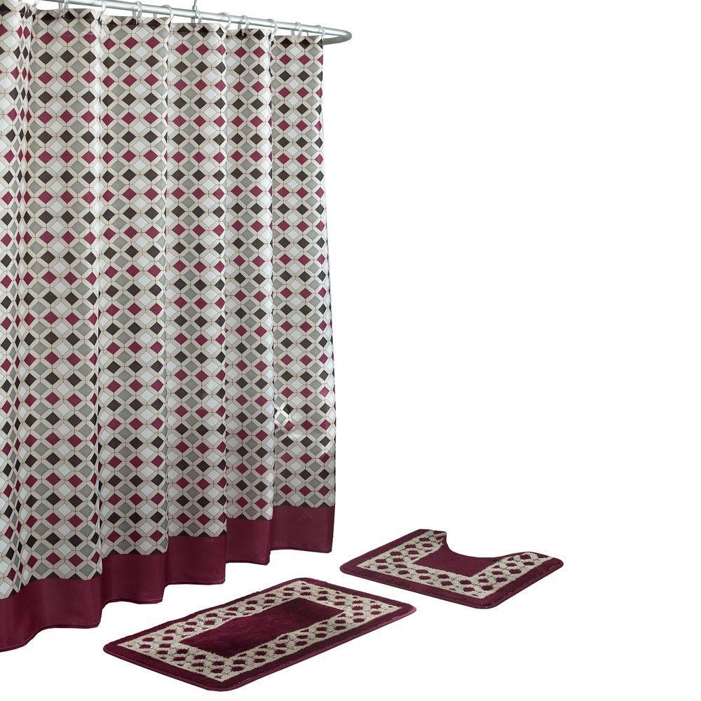 Christine Barn Red/Espresso 15-Piece Bath Rug and Shower Curtain Set