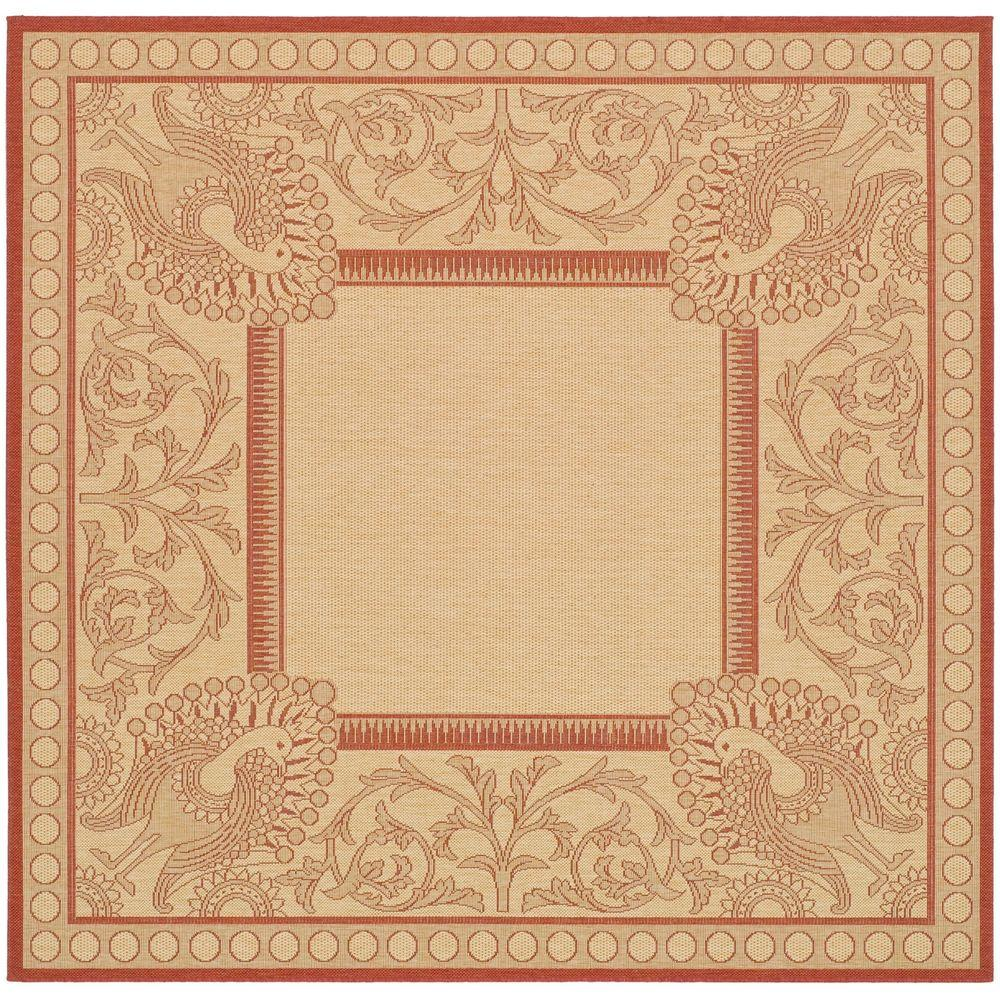 Courtyard Natural/Red 7 ft. 10 in. x 7 ft. 10 in.