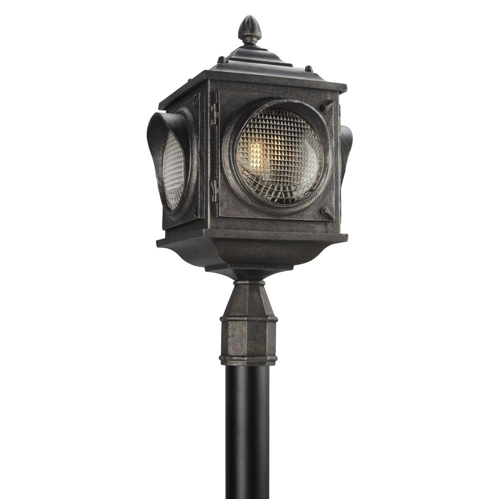 Home Depot Exterior Street: Troy Lighting Main Street 3-Light Outdoor Aged Pewter Post
