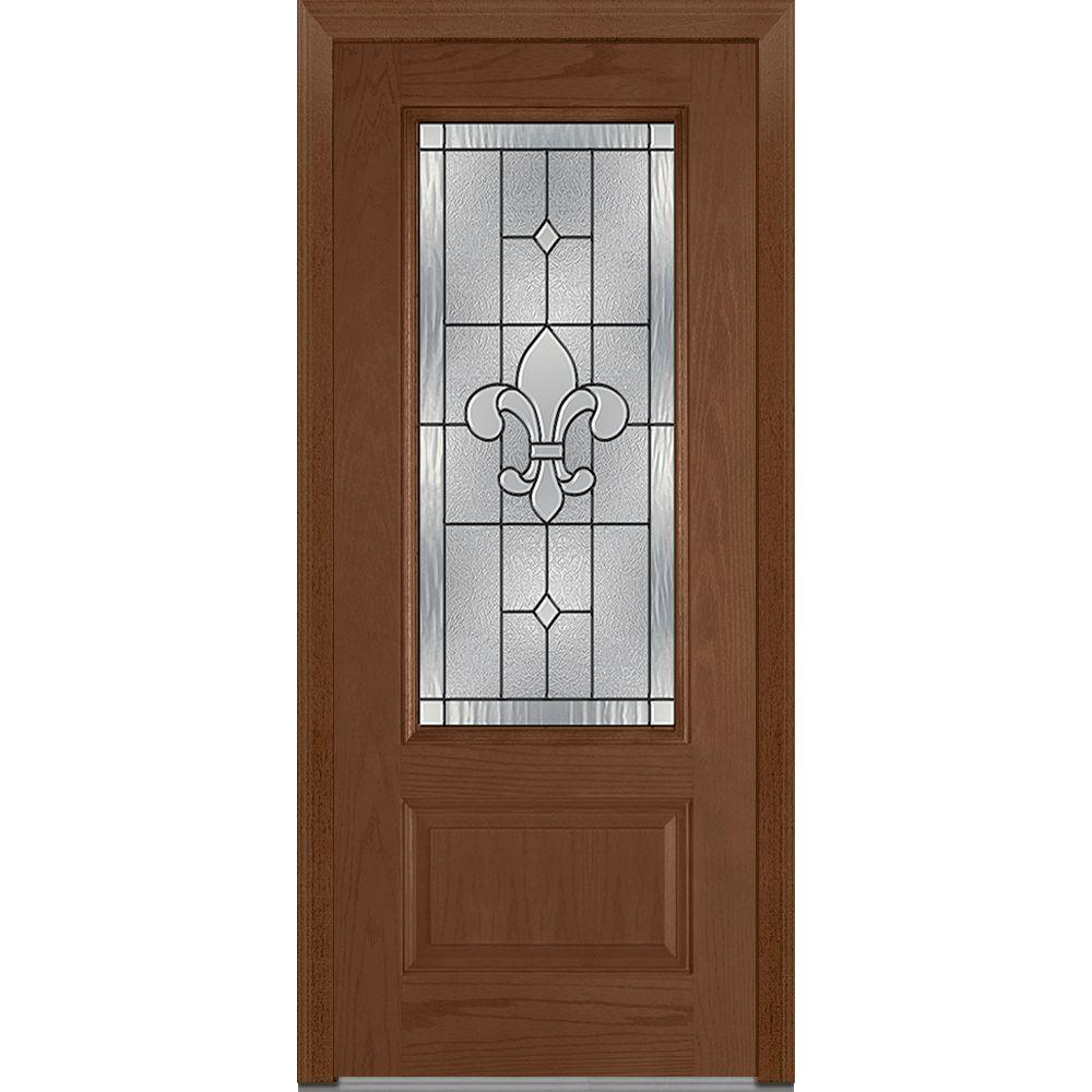 Mmi door 37 5 in x in carrollton decorative glass for Decorative glass for entry doors