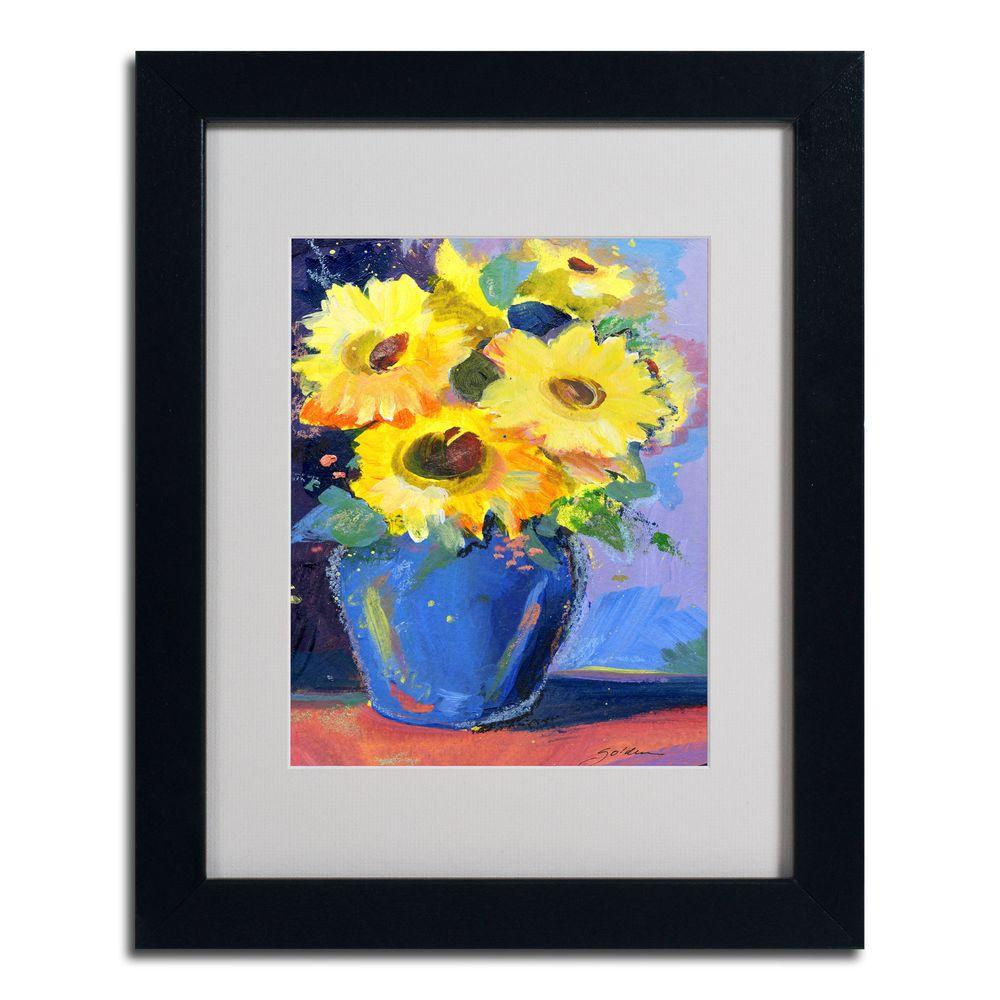 null 11 in. x 14 in. Sunflowers II Dark Wooden Framed Matted Art