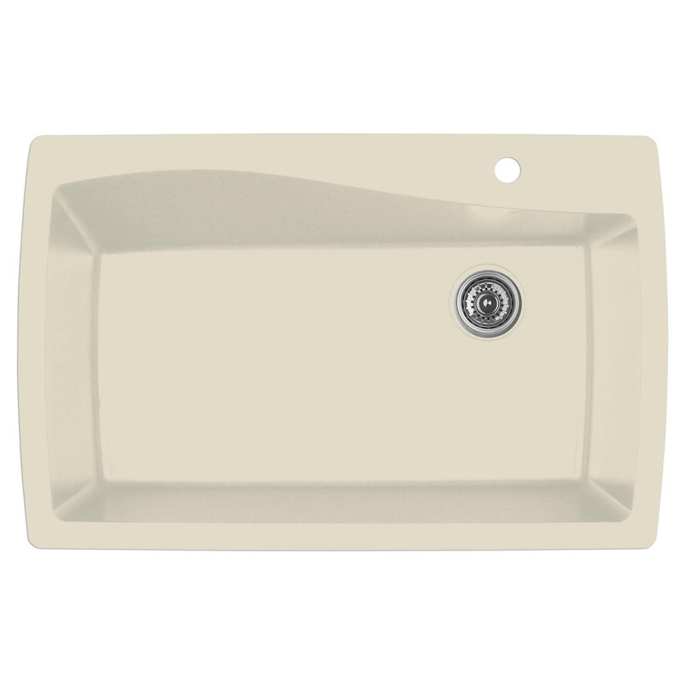 Drop-In Quartz Composite 34 in. 1-Hole Single Bowl Kitchen Sink in