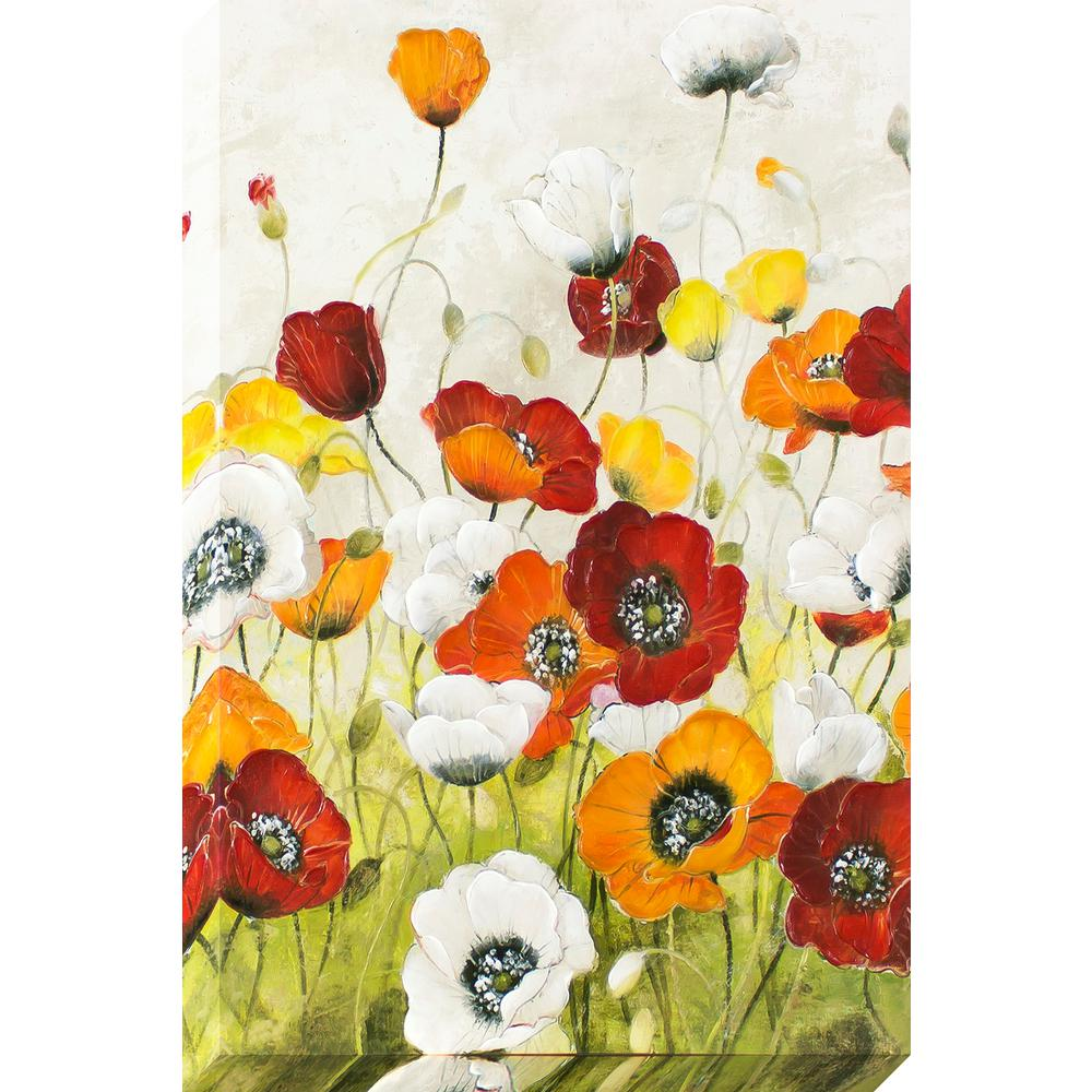 Decor Therapy 36 In X 24 In My Poppy Garden Stretched Canvas With
