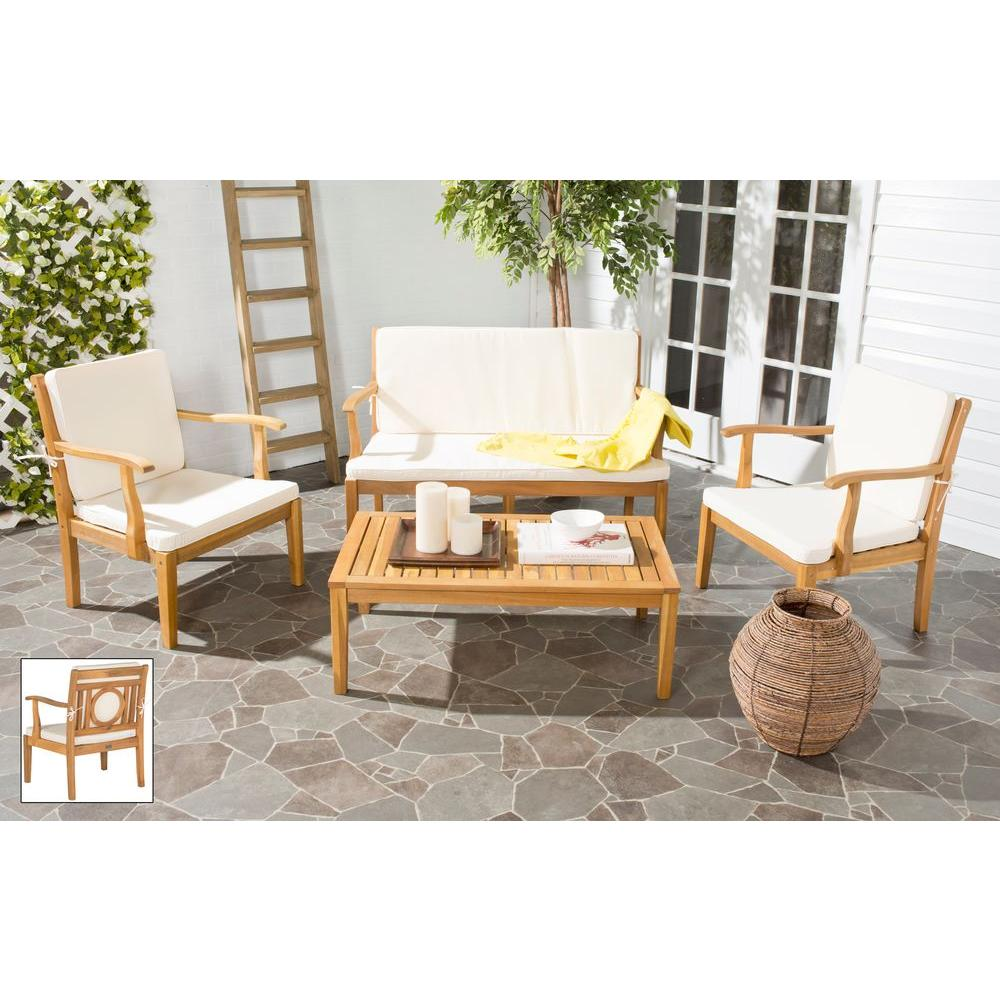 Safavieh Montclair Teak Brown 4-Piece Patio Seating Set with Beige Cushions