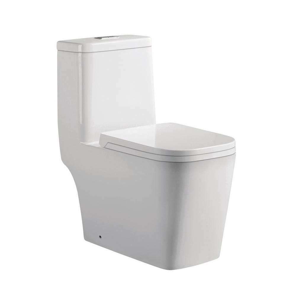 Annabelle 1-Piece 0.88/1.28 GPF Dual Flush Elongated Toilet in White