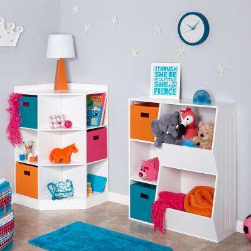 6-Cubby, 3-Shelf Corner Cabinet in White
