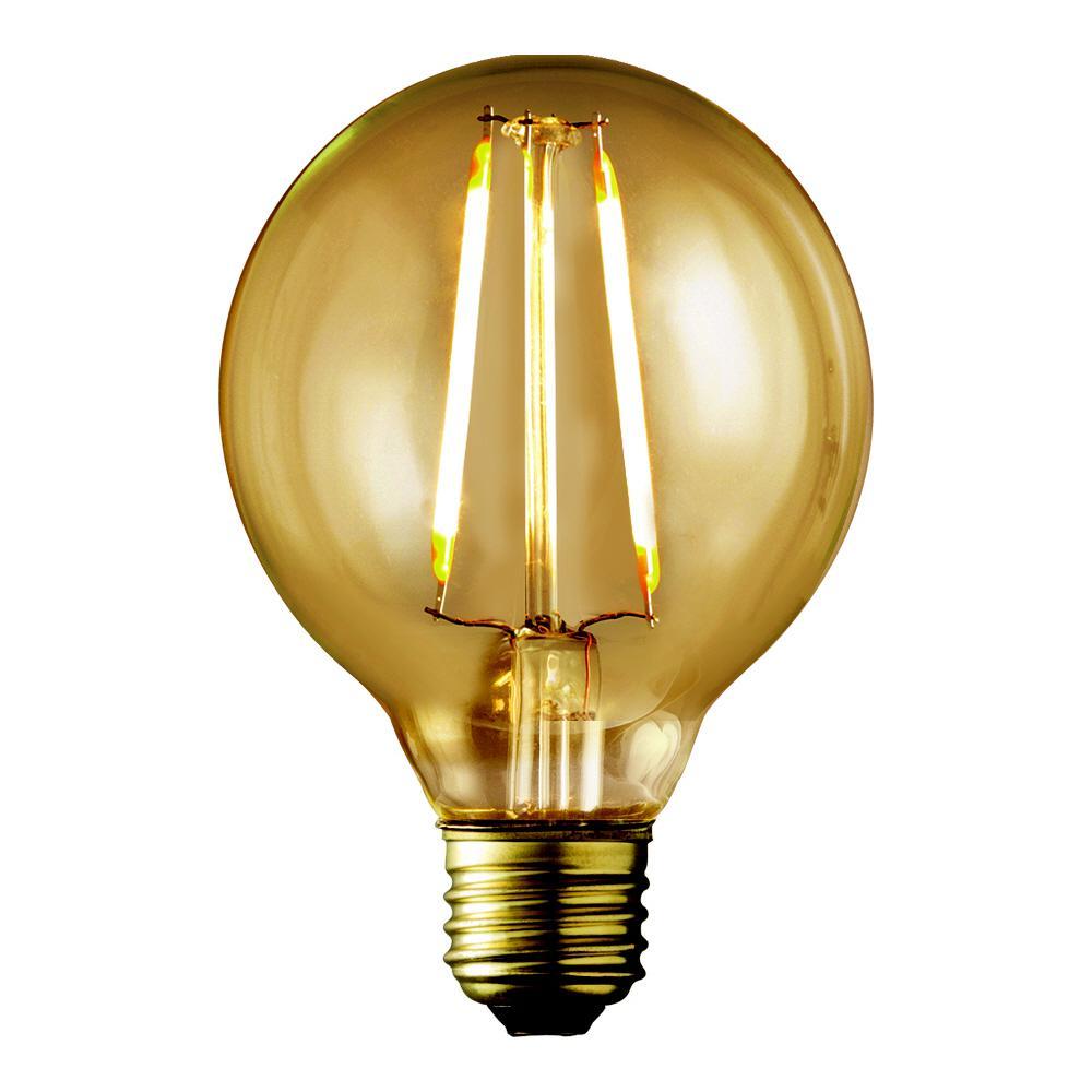 40W Equivalent Warm White G25 Amber Lens Vintage Globe Dimmable LED Light Bulb (2-Pack)
