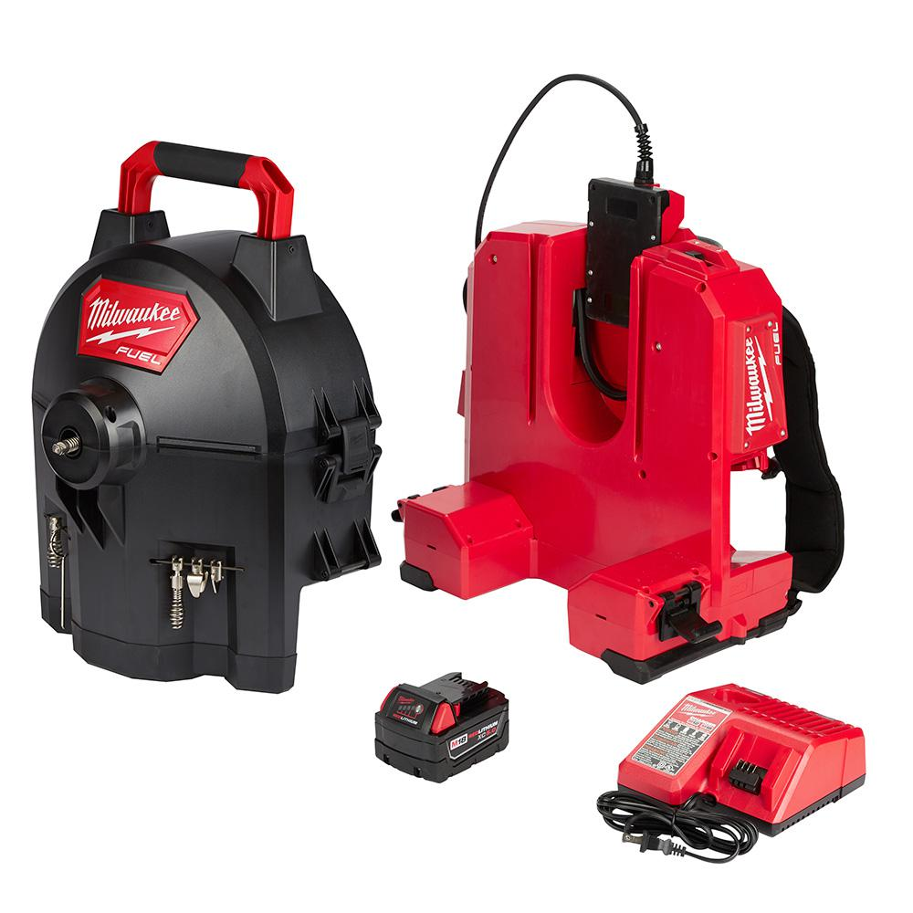 Milwaukee M18 FUEL 18-Volt Lithium-Ion Brushless Cordless Drain Cleaning 5/8 in. Switch Pack Sectional Drum System Kit