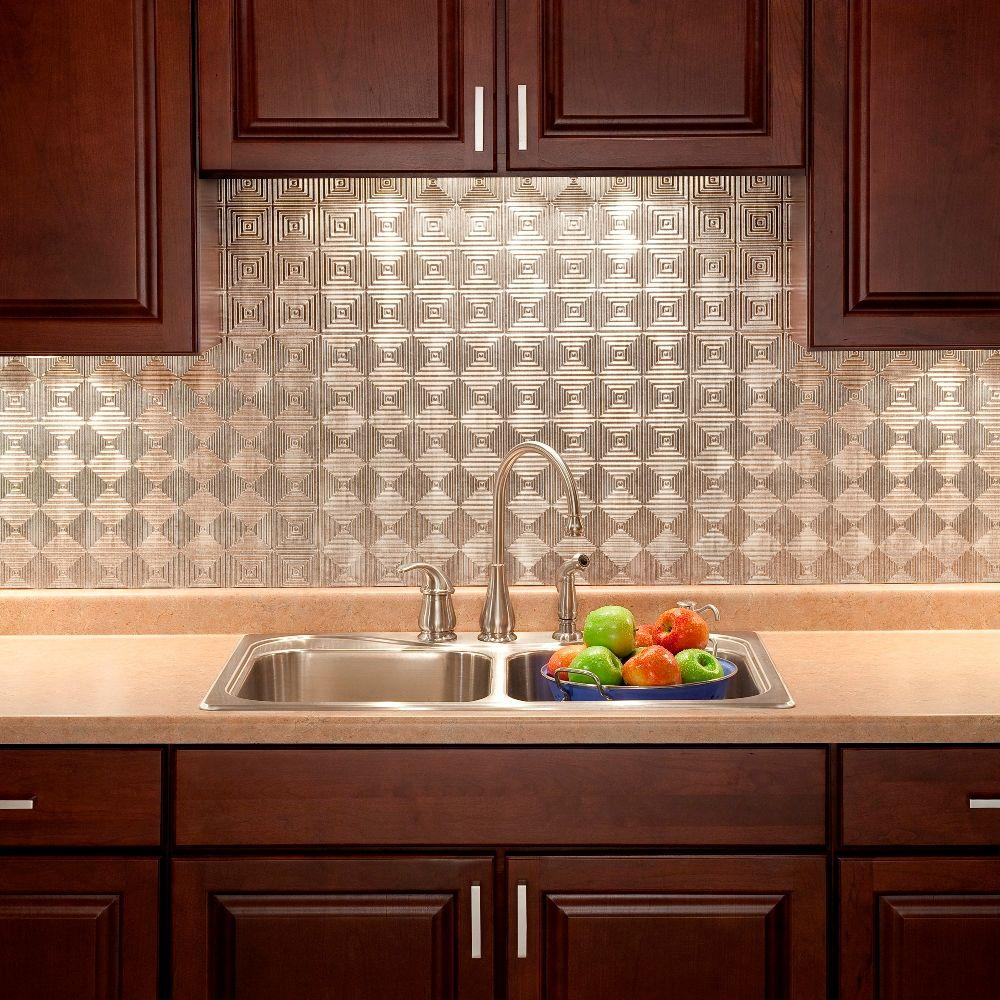kitchen backsplash panel fasade 24 in x 18 in miniquattro pvc decorative backsplash panel in crosshatch silver b53 21 5926