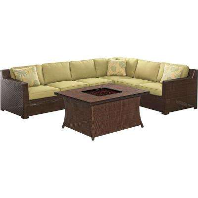 Metropolitan 6-Piece All-Weather Wicker Patio Fire Pit Seating Set with Avocado Green Cushions and Porcelain Tile Top