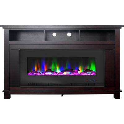 San Jose 58 in. Freestanding Electric Fireplace Entertainment Stand in Mahogany with 50 in. Insert and Driftwood Display