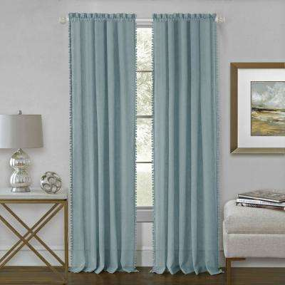 Wallace 52 in. W x 84 in. L Polyester Rod Pocket Curtain Panel in Aqua