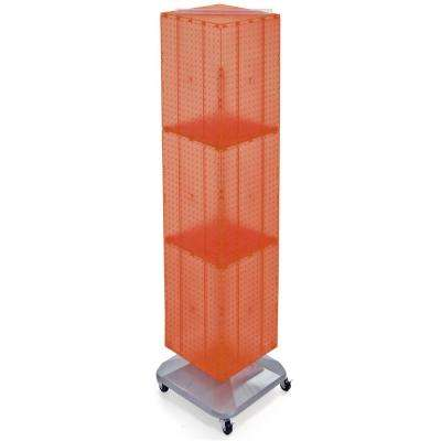 64 in. H x 14 in. W Interlock Pegboard Tower on a Revolving Base with Wheels in Orange