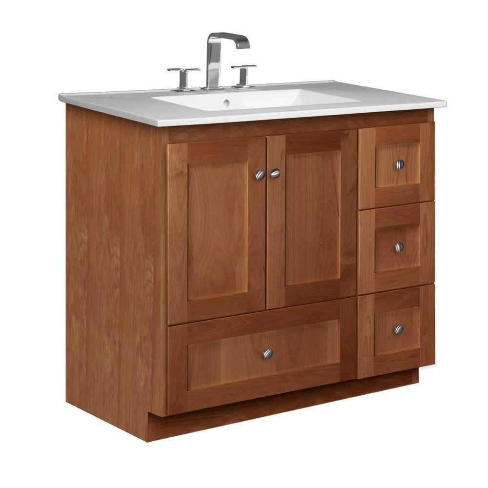 Simplicity by Strasser Shaker 37 in. W x 22 in. D x 35 in. H Vanity with Right Drawers in Medium Alder with Ceramic Vanity Top in White