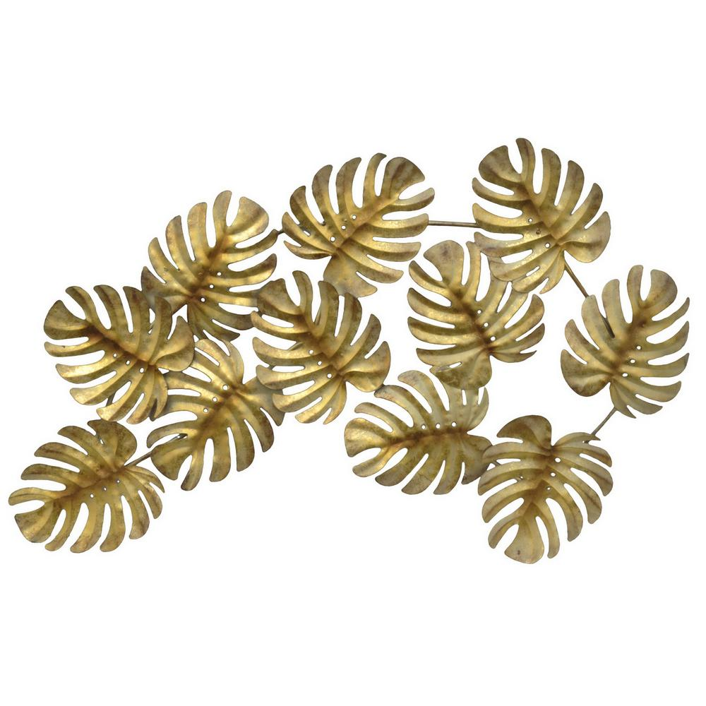 Three Hands Gold Metal Tropical Leaves Wall Decor 10116