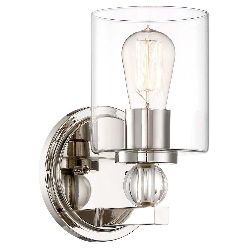 Minka Lavery Studio 5 Collection 1 Light Polished Nickel Bath Light 3071 613 The Home Depot