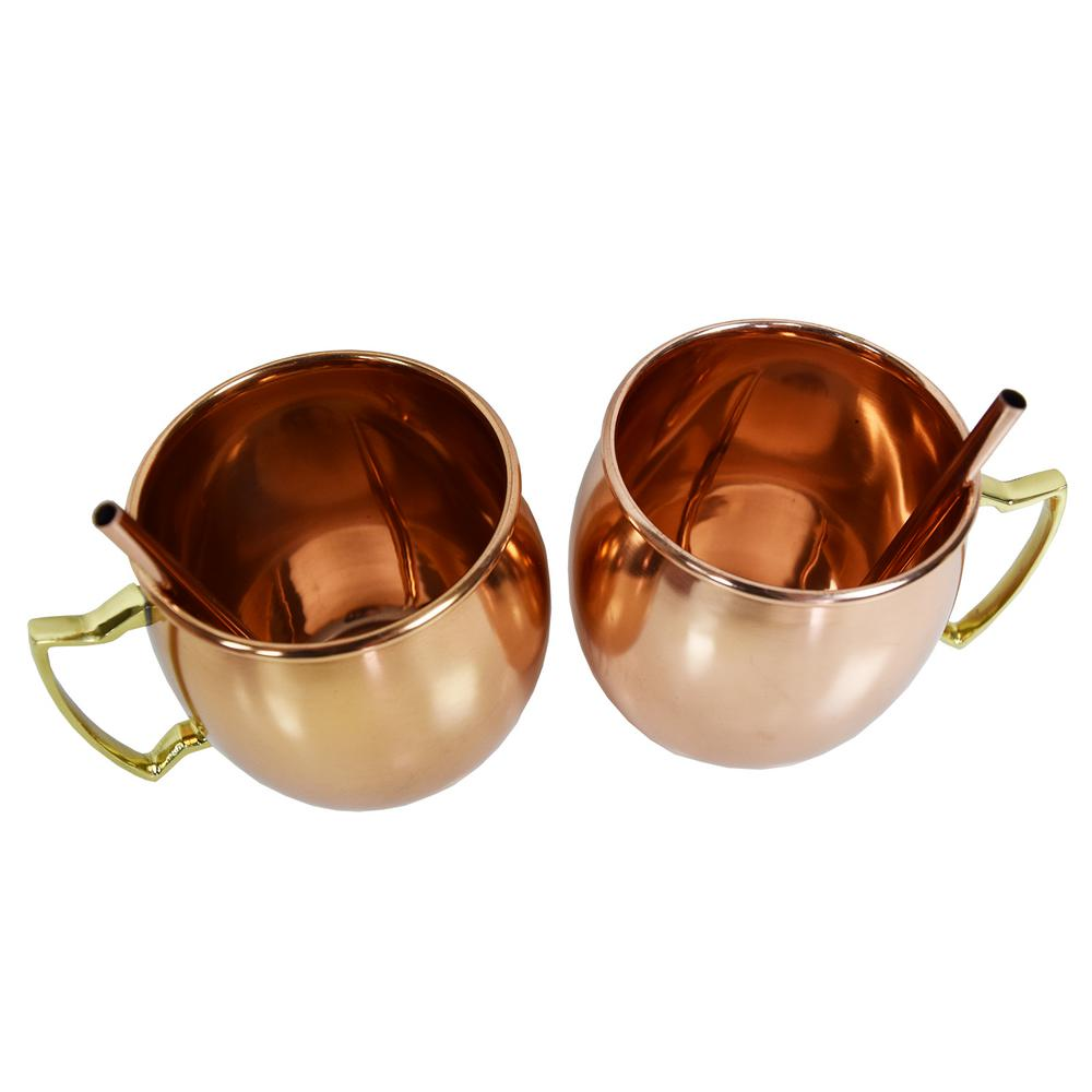 ef8f1c7f09e Oakland Living Solid Straight Pair of 100% Copper Moscow Mule Mug Cups with  Straws 16 oz Hammered Handcrafted 5.5