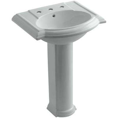 Devonshire Vitreous China Pedestal Combo Bathroom Sink in Ice Grey with Overflow Drain