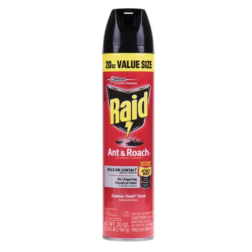 raid 20 oz value size outdoor fresh scent ant and roach killer scj638598 the home depot. Black Bedroom Furniture Sets. Home Design Ideas