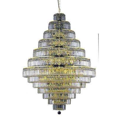 38-Light Gold Chandelier with Clear Crystal