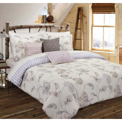 Painted 3-Piece White Floral Full Comforter Set