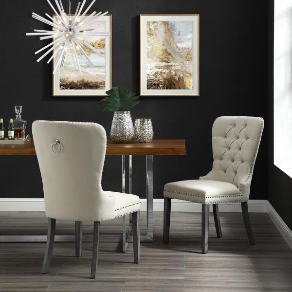 Inspired Home Nevaeh Cream White Linen Ring Handle Nailhead Dining Chair