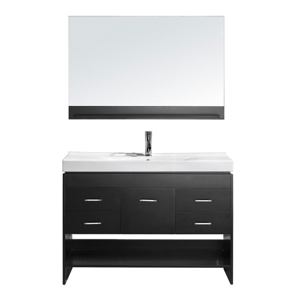 Virtu USA Gloria 48 in. W Bath Vanity in Espresso with Ceramic Vanity Top in White Ceramic with Square Basin and Mirror and Faucet