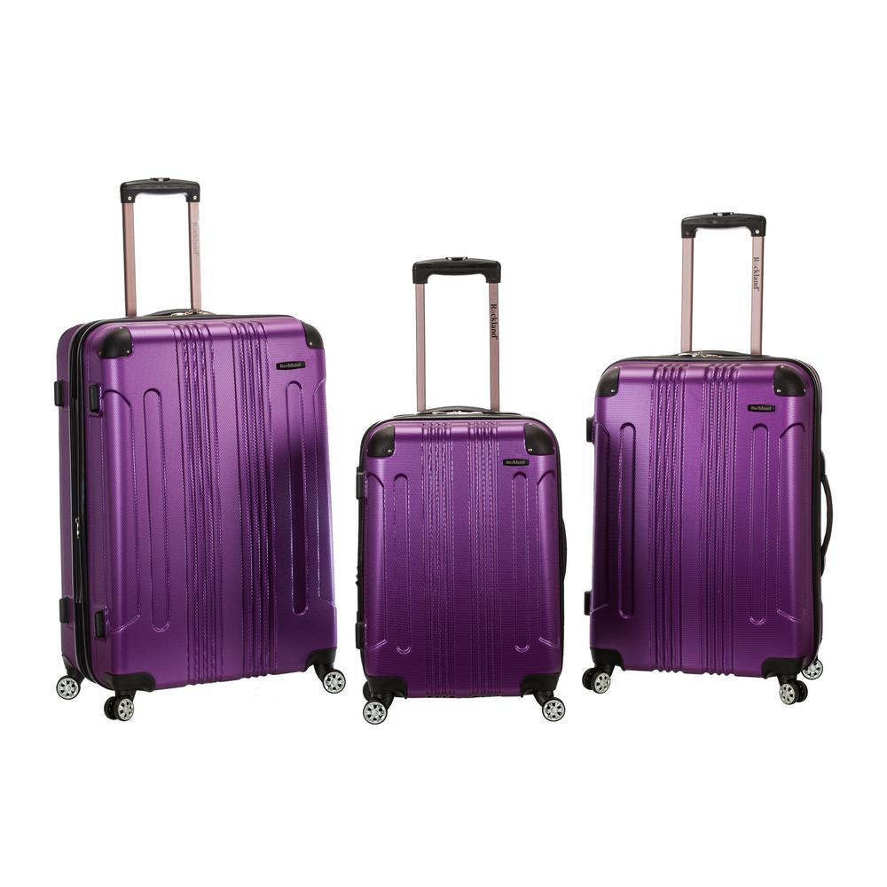 Rockland Sonic 3-Piece Hardside Spinner Luggage Set, Purple