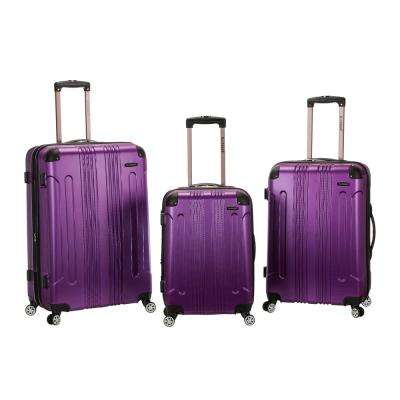 Rockland Sonic 3-Piece Hardside Spinner Luggage Set, Purple