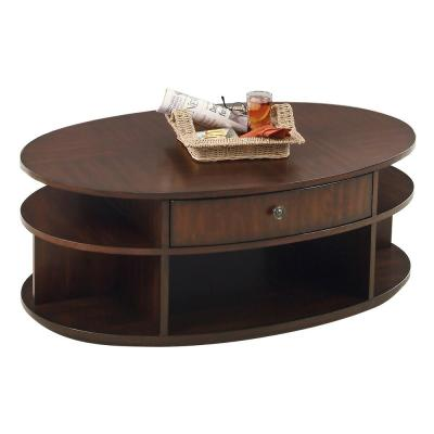 Metropolitan Dark Cherry And Birch Oval Castered Lift Top Tail Table
