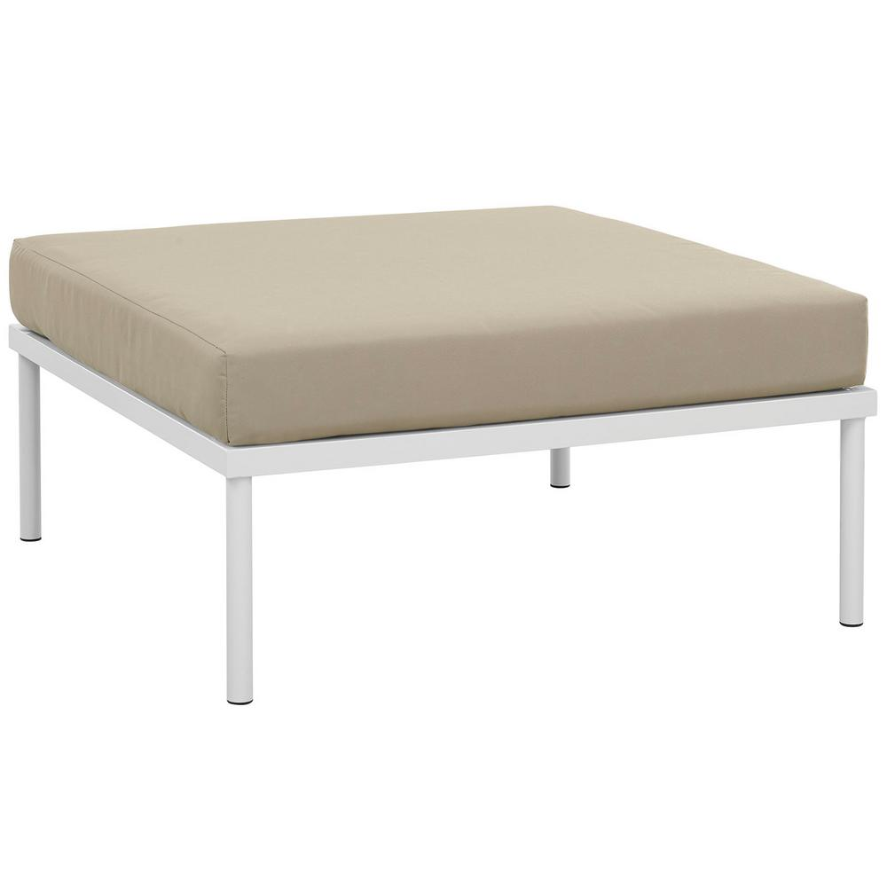 Harmony Outdoor Patio Aluminum Ottoman in White with Beige Cushions