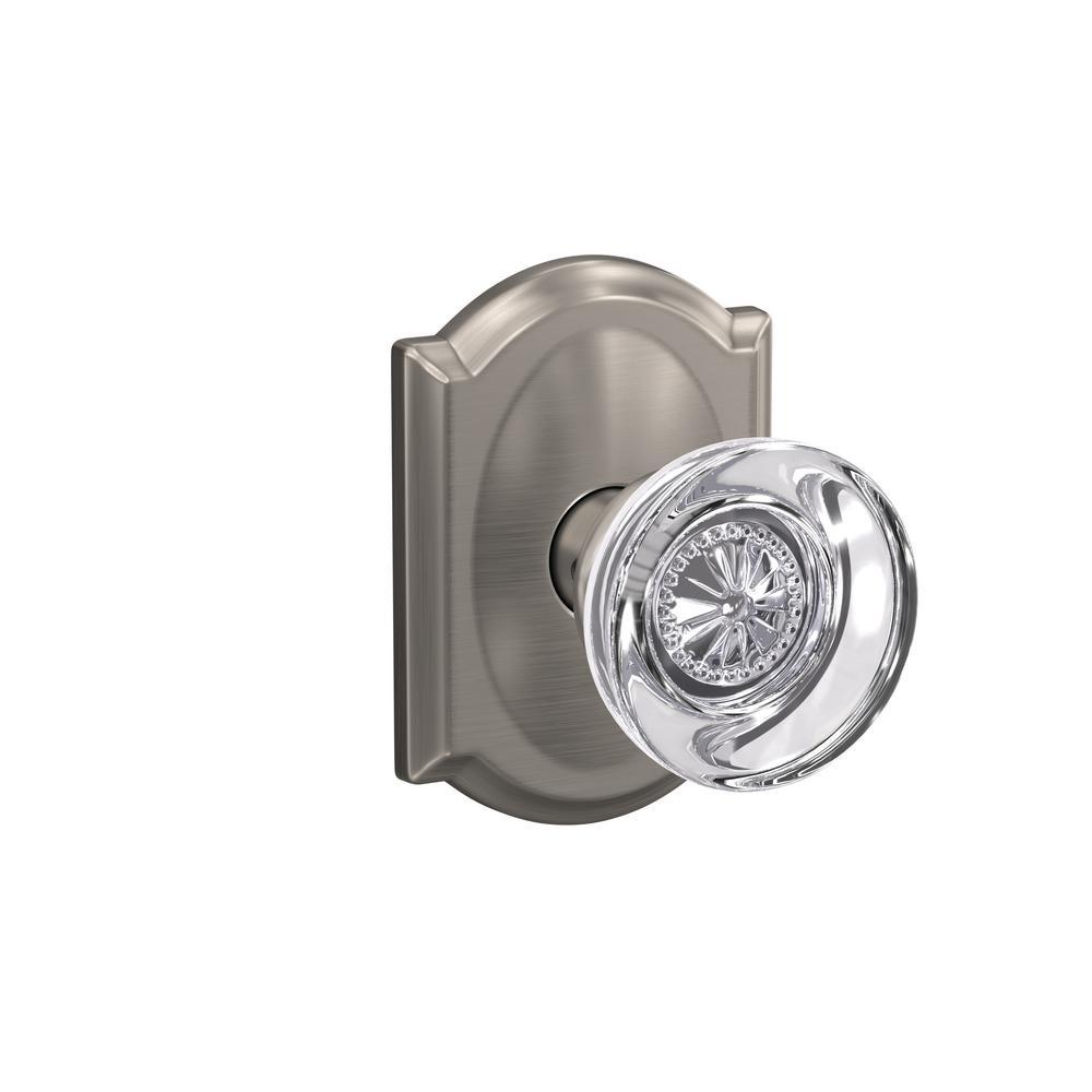 Custom Hobson Satin Nickel Camelot Trim Dummy Glass Door Knob