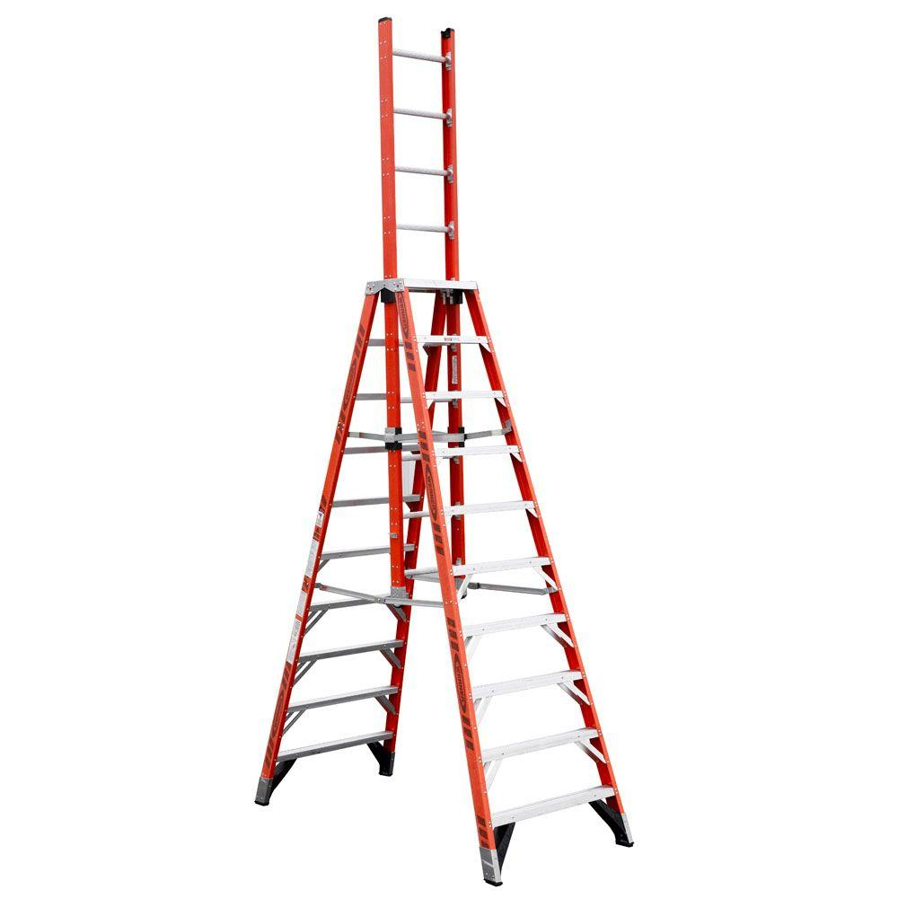 Werner 10 Ft Fiberglass Extension Trestle Step Ladder With 300 Lb Load Capacity Type Ia Duty Rating E7410 The Home Depot