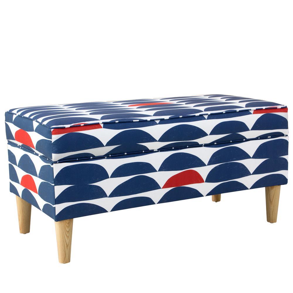 Excellent Skyline Furniture Blair Halfmoon Navy Red Storage Bench Spiritservingveterans Wood Chair Design Ideas Spiritservingveteransorg