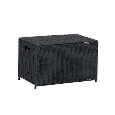Black Small Wicker Storage Chest, Paper Rope