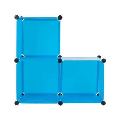 14 in. x 14 in. Blue Plastic Stackable 3-Cube Organizer