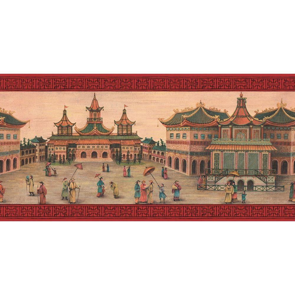 The Wallpaper Company 10 in. x 8 in. Venetian Red Emperor's Palace Border Sample