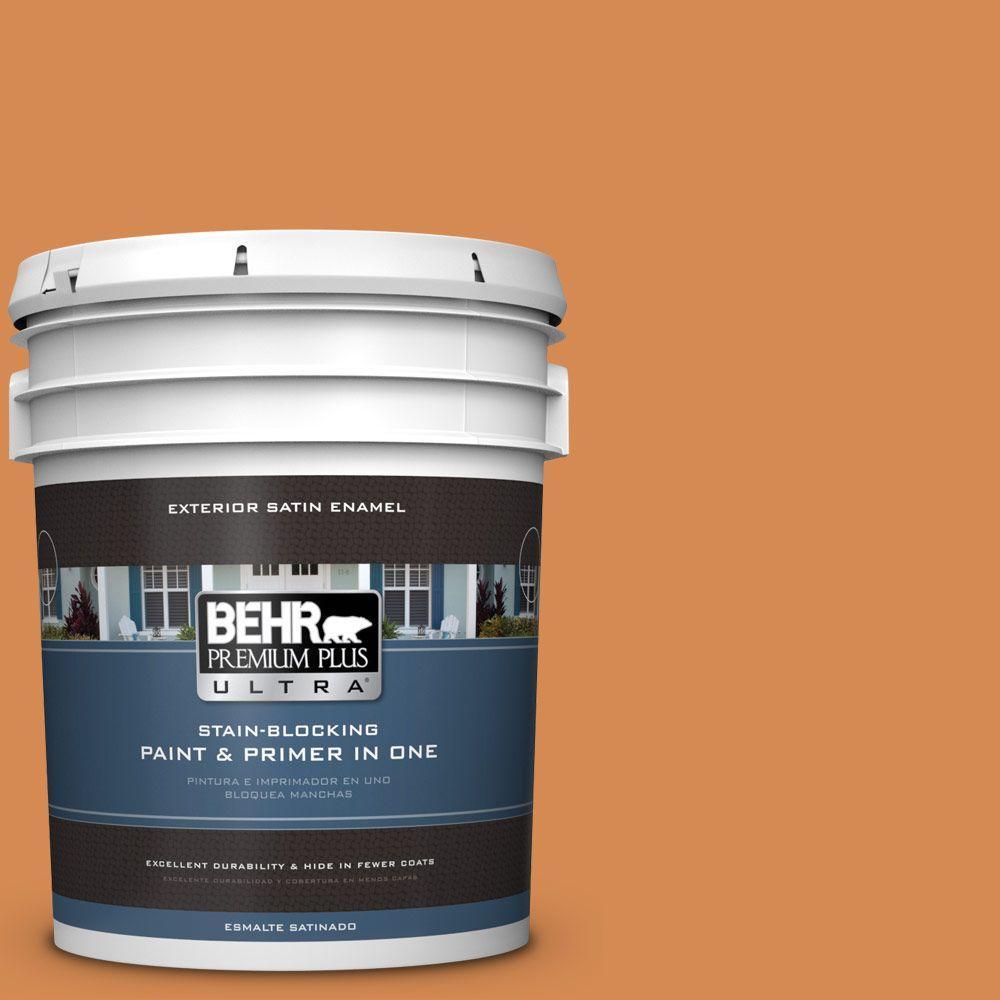 BEHR Premium Plus Ultra 5-gal. #260D-5 Amber Wave Satin Enamel Exterior Paint