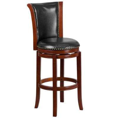 30 in. High Dark Chestnut Wood Barstool with Panel Back and Black Leather Swivel Seat