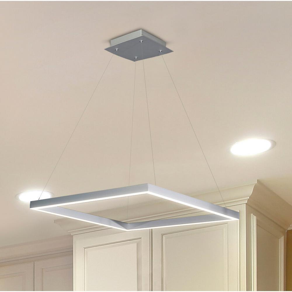 adjustable pendant lighting. VONN Lighting 38W Atria Collection 20 In. Silver Integrated LED Adjustable Hanging Modern Square Chandelier Pendant T