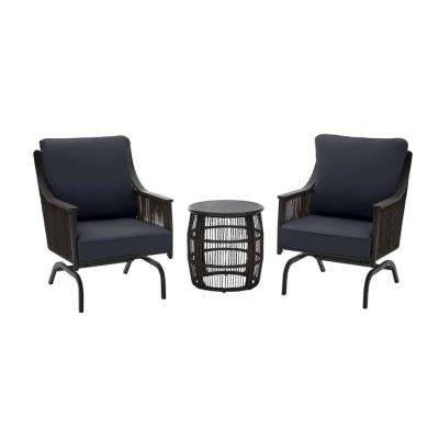 Bayhurst  Black 3-Piece Wicker Outdoor Patio Motion Seating Set with CushionGuard Midnight Navy Blue Cushions
