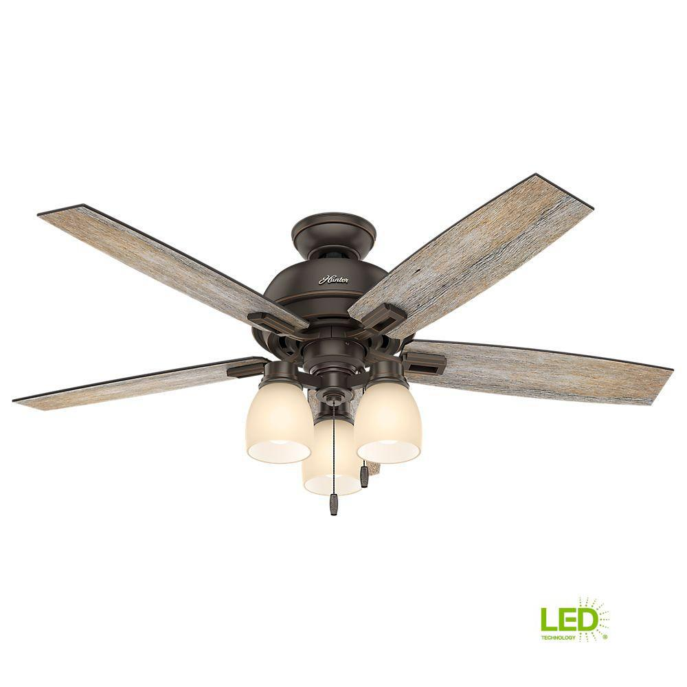 3 light ceiling fan black led indoor onyx bengal bronze ceiling fan with 3light hunter donegan 52 in