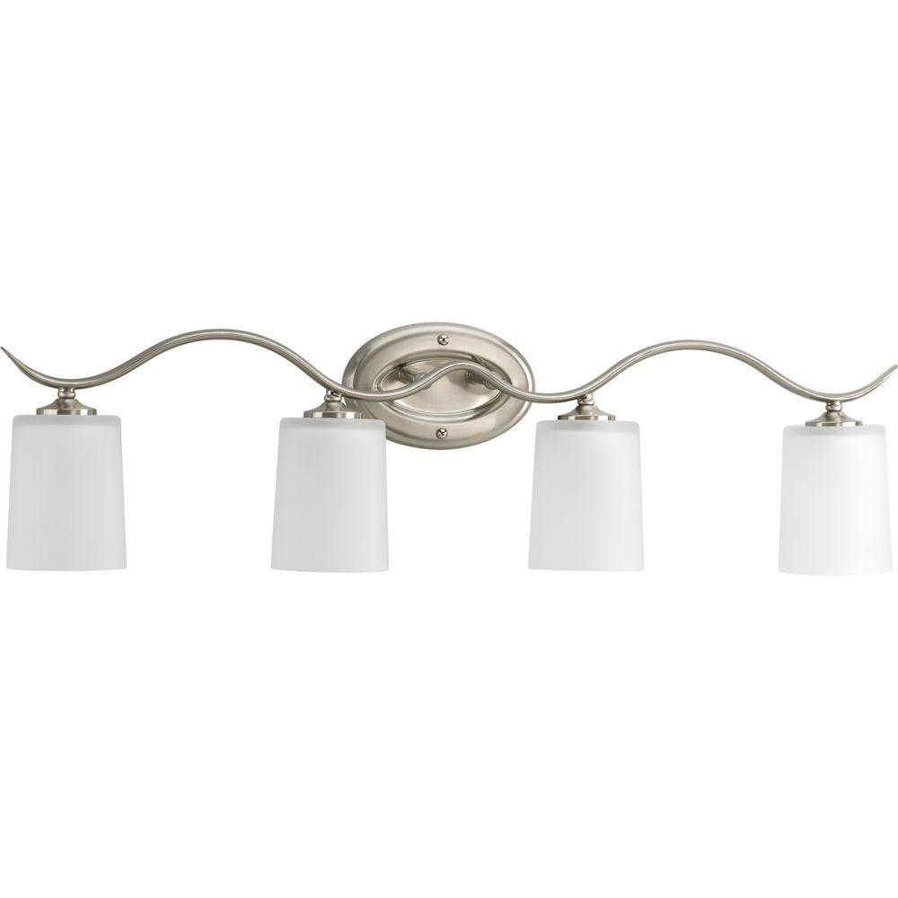Inspire Collection 31.38 in. 4-Light Brushed Nickel Bathroom Vanity Light with Glass Shades