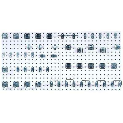 LocBoard (2) 24 in. x 24 in. x 9/16 in. White Epoxy 18-Gauge Steel Square Hole Pegboards w/ 46 Piece LocHook Assortment