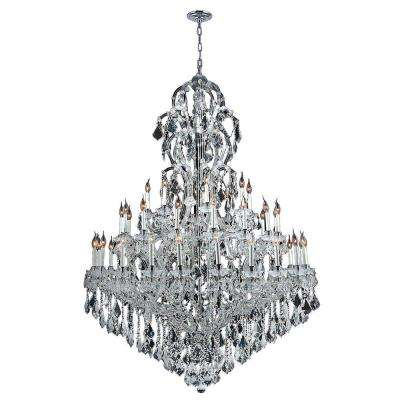 Maria Theresa 48-Light Polished Chrome with Clear Crystal Chandelier