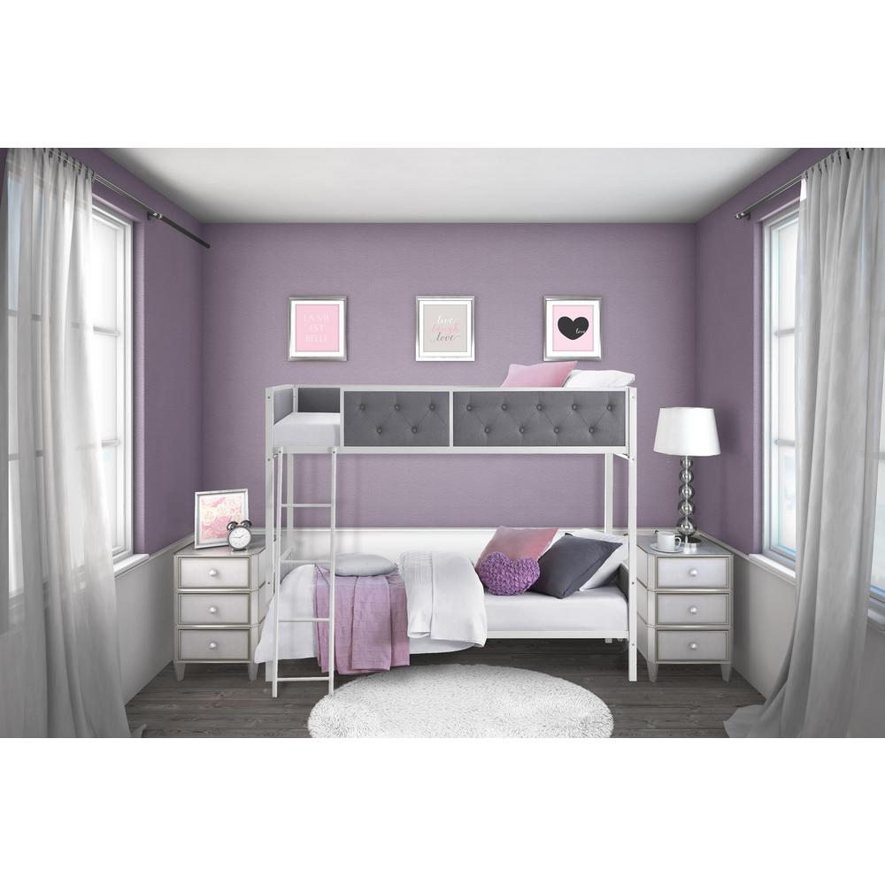 Dhp Twin Over Twin Bunk Bed White Gray Chesterfield
